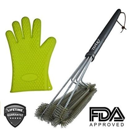 "BBQ Grill Brush By Tevelo 18"" Best BBQ Cleaner + FREE Heat Resistant Silicone Kitchen Glove Safe For All Grills.  Sale: $14.99 https://www.amazon.com/gp/product/B014JP46BU https://dashburst.com/michaela09/385"