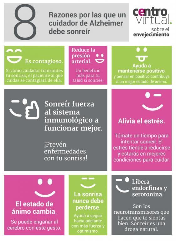 Infografía: 8 razones por las que un cuidador de Alzheimer debe sonreir | centro virtual sobre el envejecimiento