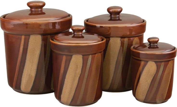 Stoneware Brown Canister Contemporary Modern Avanti Round Dishwasher Safe New #Sango #Stoneware #Brown #Canister #Kitchen