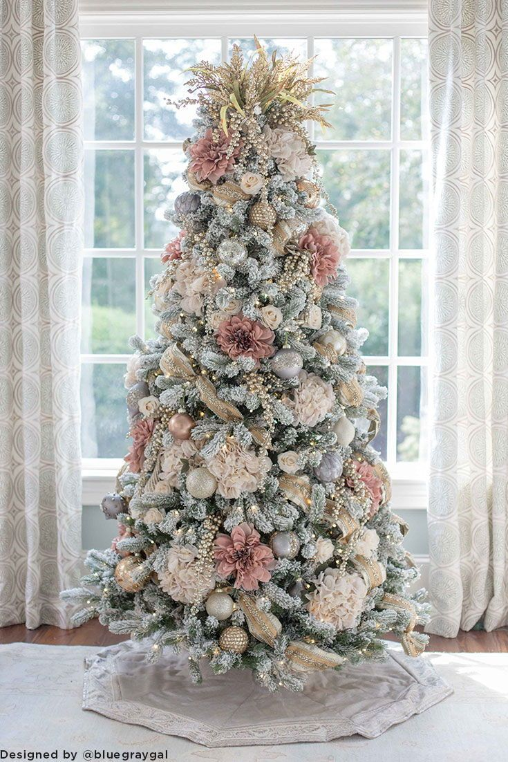 Diy Christmas Tree Shop Silk Flowers At Afloral For Holiday Decorating Elegant Christmas Trees Pink Christmas Tree Decorations Gold Christmas Decorations