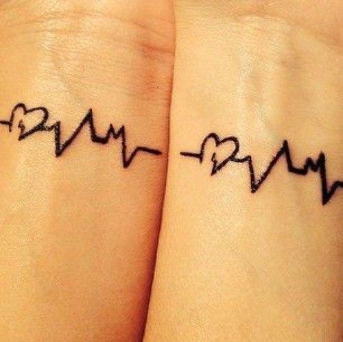 tatuaje para parejas representando la linea de la vida