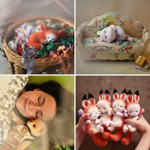 Флешмоб #artvsartist Зверушки мои спят, а я с ними решила вздремнуть. На зелёной подушке. Мягкой зелёной подушке.