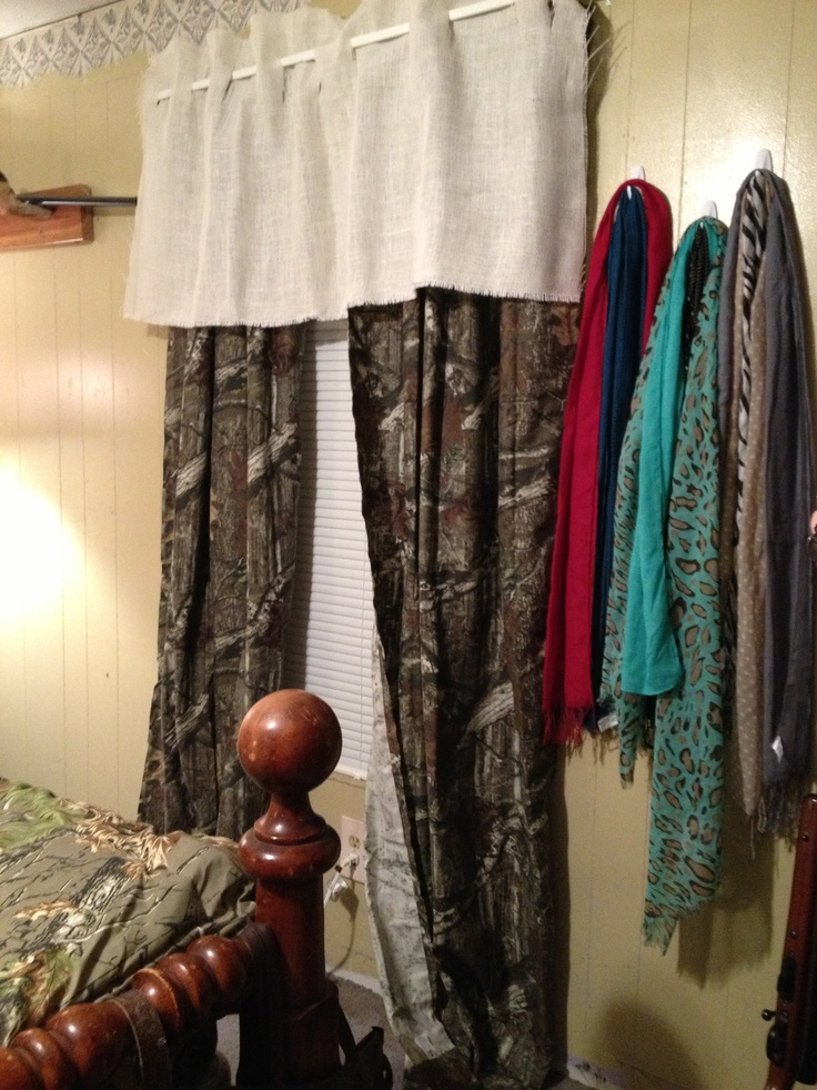 DIY burlap valance with camo curtains! | Camo! | Pinterest ...