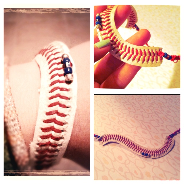 - Texas Ranger ball- DIY baseball bracelet!! Just cut the seeing off a baseball, add your favorite team color and done!