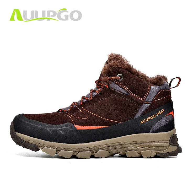 Auupgo Waterproof Hiking Shoes For Men Winter Outdoor Sports Sneakers Hiking Boots Breathable Thermal Fleece Snow Boot For Men