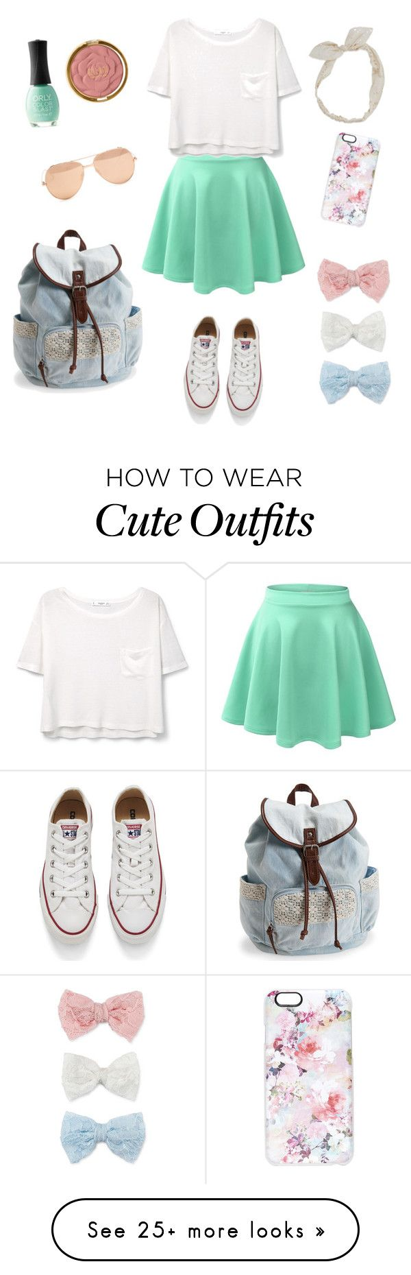 """""""Cute School Outfit"""" by scamper623 on Polyvore featuring Decree, Converse, Carole, Milani, ORLY, LE3NO, MANGO, Aéropostale, Linda Farrow and Casetify"""