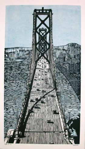 Bay Bridge Linocut Eric Rewitzer