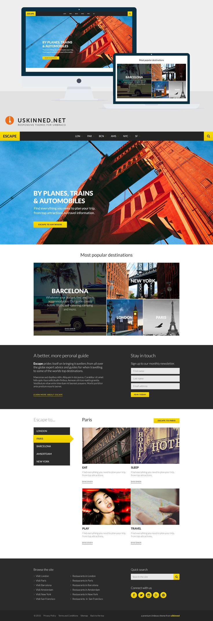 Escape is vibrant travel / tourism guide Umbraco theme coming soon to uSkinned. https://uskinned.net/themes/ #responsive #umbraco #themes #travel #tourism #wordpress