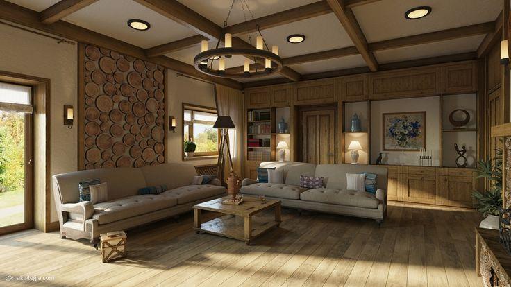 ЖИЛОЙ ДОМ В СТИЛЕ ШАЛЕ 1Й ЭТАЖ  Двухэтажный дом.  Дом выполнен в стиле шале.  Стиль Шале это деревянные потолки, деревянные стены, деревянные балки,  керамогранит в виде досок, элементы стен сделанные из камня.  Интерьер этого дома слегка напоминает стиль замка или охотничьего домика — стилизованная люстра под старину со свечами, светильники в виде факелов, камин обложенный камнем и настенные часы из дерева и метала. Мебель выполнена с обивкой из натуральных тканей. Основные цвета стиля…