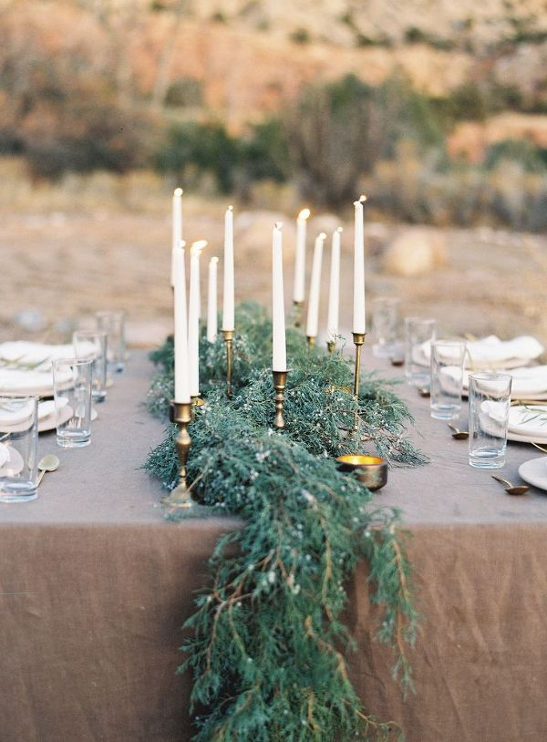 Natural Greenery Table Runner | Heather Hawkins Photography | Natural Gold - An End of Summer Wedding