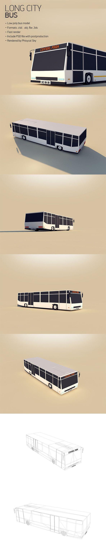 Low Poly Long City Bus 3D Models Design Template #cinema4d #3D Download here: https://3docean.net/item/long-city-bus/12478807?ref=yinkira