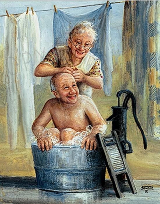 Opa gaat in de badkuip.