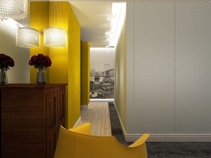Projekt wnętrza hallu w apartamencie w stylu eklektycznym – Tissu. Apartament zaprojektowany został w stylu eklektycznym. Żółte akcenty kolorystyczne, tapeta New York oraz kostka brukowa ożywiają wnętrze. We wnętrzu zostały użyte kolonialne meble należące do Inwestora. http://www.tissu.com.pl/zdjecia/264