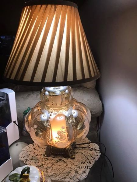 """Carl Falkenstein Mid century (50-60 yr old) melon floral beaded 3-way nightlight vintage table lamp with hand painted details This mid-century lamp made by Falkenstein features a large glass font that is iridescent amber or soft gold in color. It features a floral white roses on the sides. Stands 24"""" tall 38"""" round the bulbous mid section. SHADE INCLUDED $100 and i can accept credit card with my secure square account. Shipping and handling fee is $55. pick up is in Roanoke, VA"""