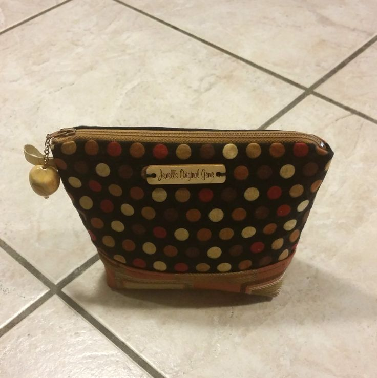 Makeup Pouch, zippered cosmetic bag, toiletry storage, shades of brown, polk a dots,  beaded pull by jewellgem on Etsy
