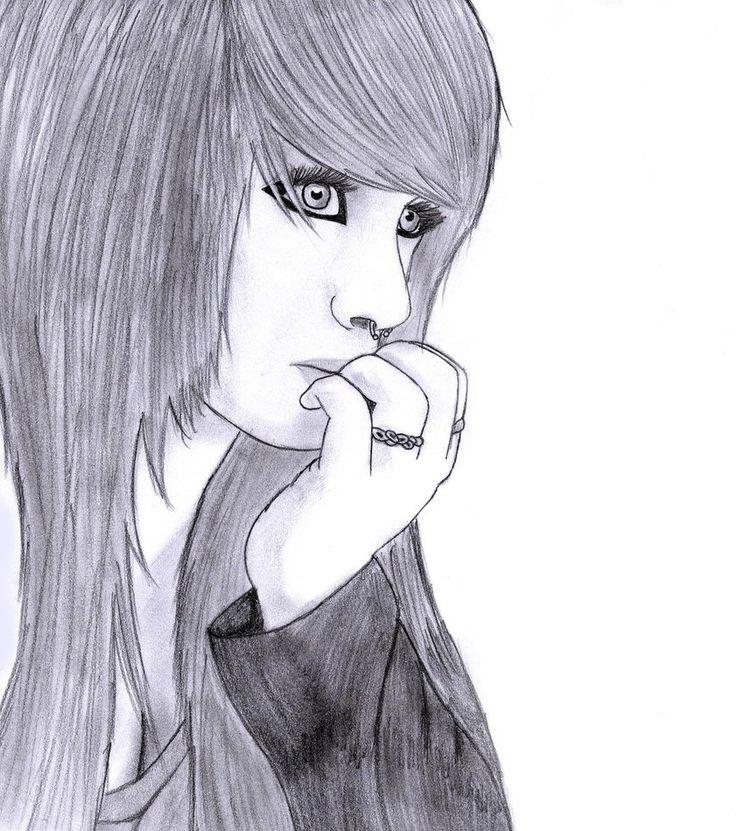 Sad emo art sketches pinterest scene girls emo for Cool sketches of girls
