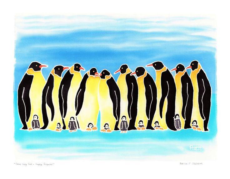 Some Very Cool + Happy Penguins! Batik on Silk by #artist Patricia Chicharro #fineart #ianart http://internationalartnetwork.com/products/SomeVeryCoolHappyPenguins.html