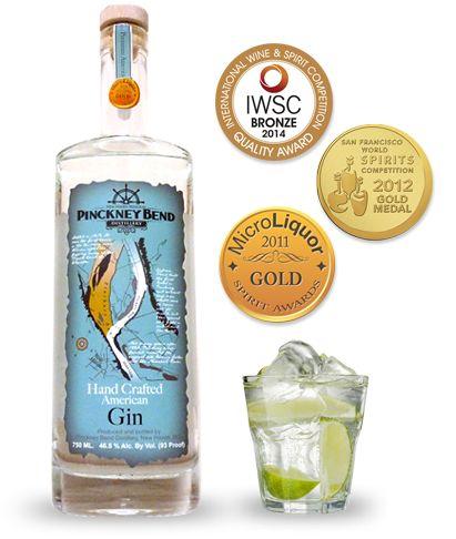 Pinckney Bend American Gin. 46.5% ABV. Contemporary.