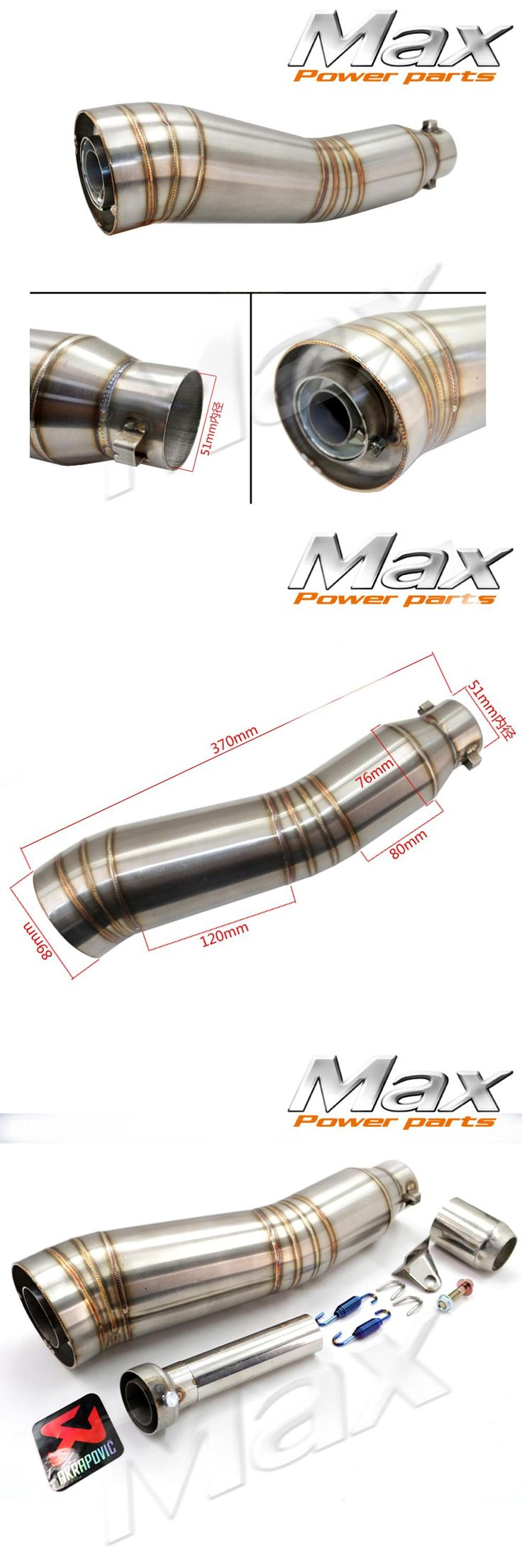 [Visit to Buy] Motorcycle Exhaust Middle Pipe for GP without exhaust S type exhaust pipe Satinless Steel Escape accessories #Advertisement