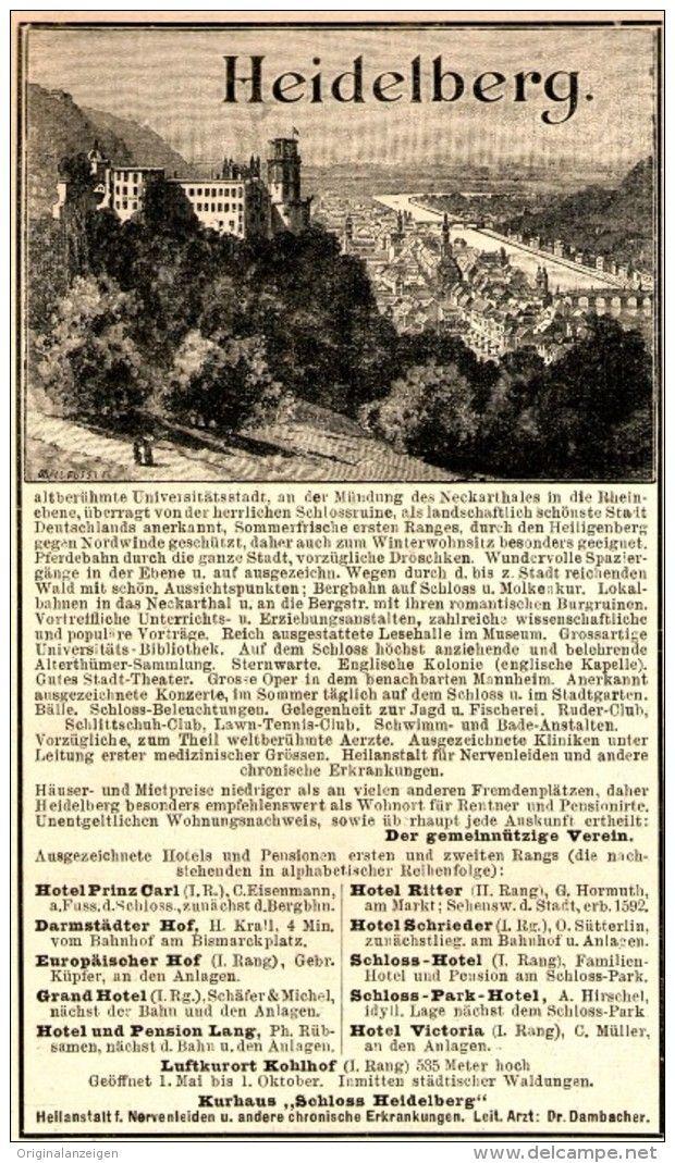 Original-Werbung/Anzeige 1898 - HOTELS IN HEIDELBERG  - ca. 90 x 155 mm