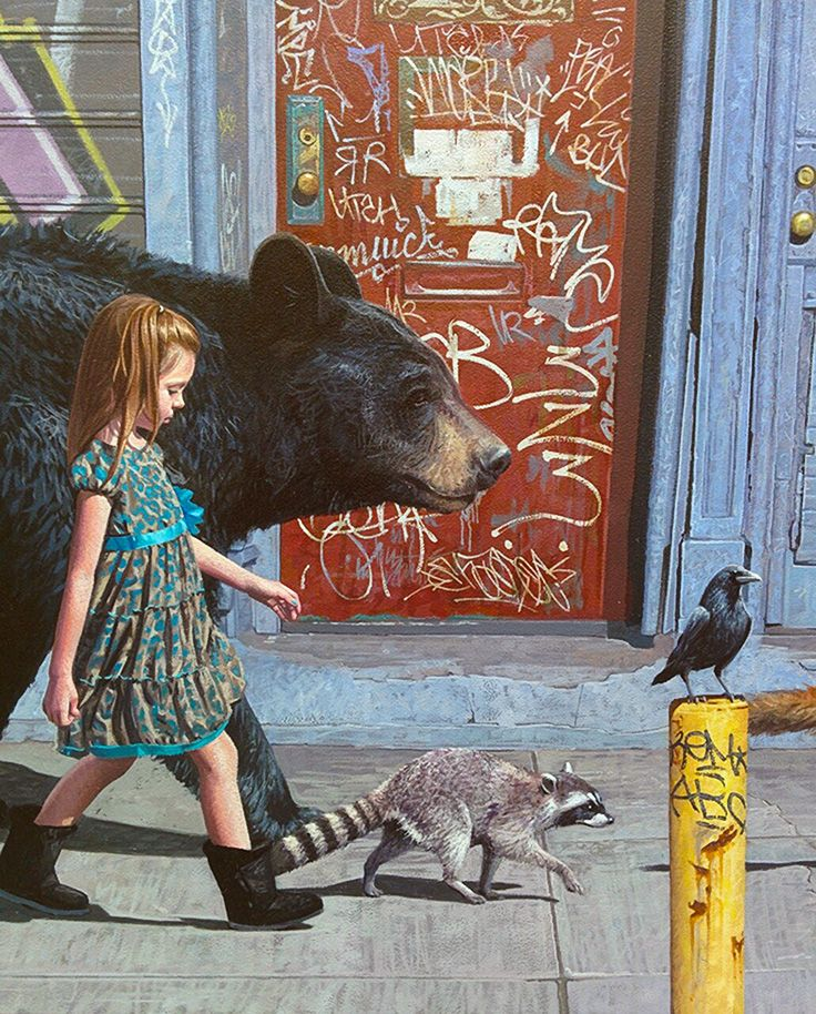 """Coalition"" - Kevin Peterson {contemporary realism girl bear raccoon raven painting detail}"