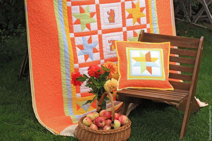 """Купить Оранжевое детское лоскутное одеяло """"Рыжий котик"""" - лоскутное одеяло, детское лоскутное одеяло"""