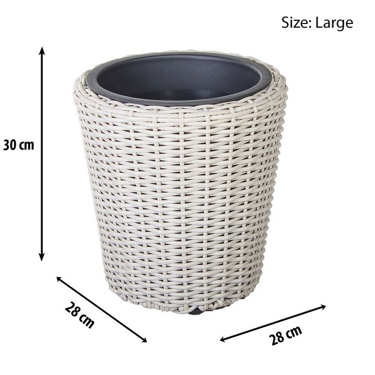 http://www.bonsoni.com/round-rattan-planter-set-with-plastic-inserts-in-sandy-white-garden-outdoor-furniture  Set of 4 Round White Rock Rattan Planters with Iron Frame - Various Sizes  http://www.bonsoni.com/round-rattan-planter-set-with-plastic-inserts-in-sandy-white-garden-outdoor-furniture