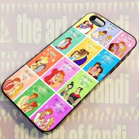 Disney Princess Love Quotes For iPhone 5/5c/5s Black Rubber Case