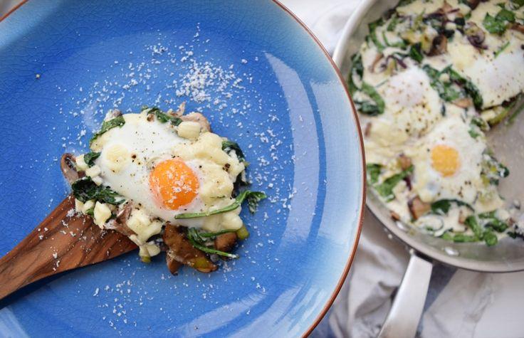 Žampiony s vejcem - snídaňový casserol