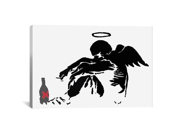 Drunken Angel #1 by Banksy Canvas Print - Home & Kitchen