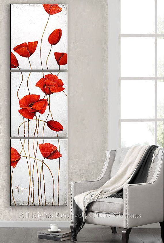 ORIGINAL Poppies Abstract Oil Flowers Painting Poppy by Artcoast