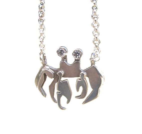 Little Crab Pincer Silver Necklace  Crab by SophieJadeJewellery