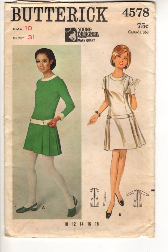 Vintage 60's Misses Low Waisted Dress by Designer Mary by Jantiki
