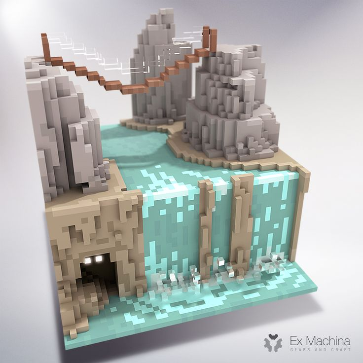 A waterfall in voxel ... don't wake the creature !