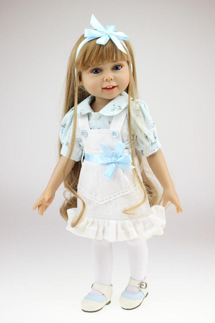 18 polegadas American Girl cabelos loiros Boneca de vestido azul moda Baby Alive Boneca brinquedos de presente de aniversário para a menina crianças em Bonecas de Brinquedos Hobbies & no AliExpress.com   Alibaba Group