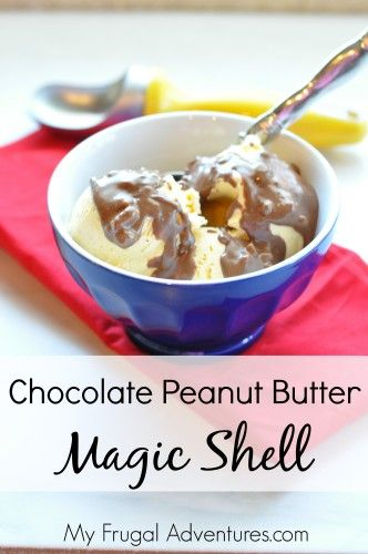Chocolate Peanut Butter Magic Shell Recipe. This stuff is amazing! Just two ingredients and a few seconds to make!