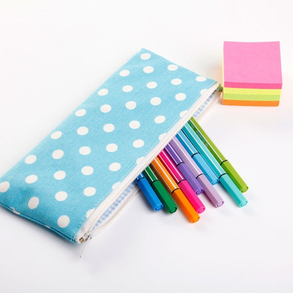 Blue Polka Dot Fabric Pencil Case Cosmetic Bag Zippered Pouch.