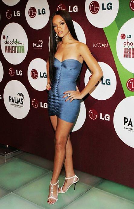 Herve Leger Strapless Mini Dress Blue-Rihanna