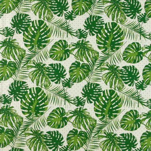 Baumwolle, Grün mit grafischen Blättern