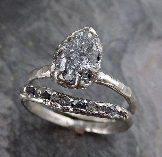 Rough Raw Black Diamond Engagement Ring Raw 14k by byAngeline on Etsy