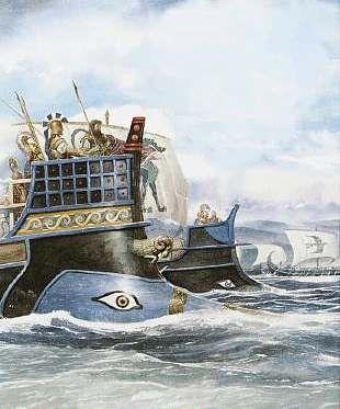 Odysseus and his crew sailed to their destination on their black ship.