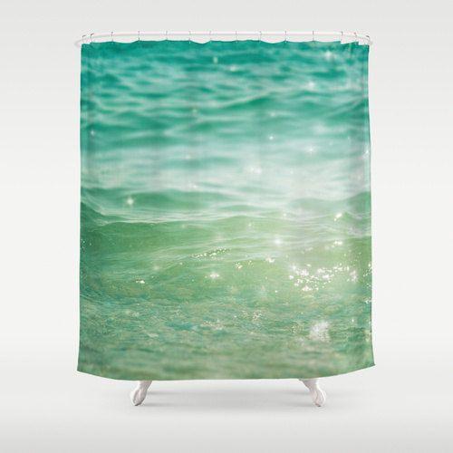 Shower Curtain bathroom decor, sea shower curtain, nautical shower curtain, green turquoise, abstract curtain, dreamy curtain waves aqua