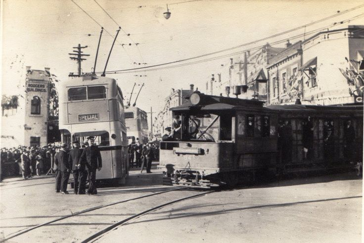 Trolley buses and tram (new back then!) at the corner of Montgomery Street and Railway Parade - or, right outside our office! #kogarah #history #stgeorge #livingherekogarah