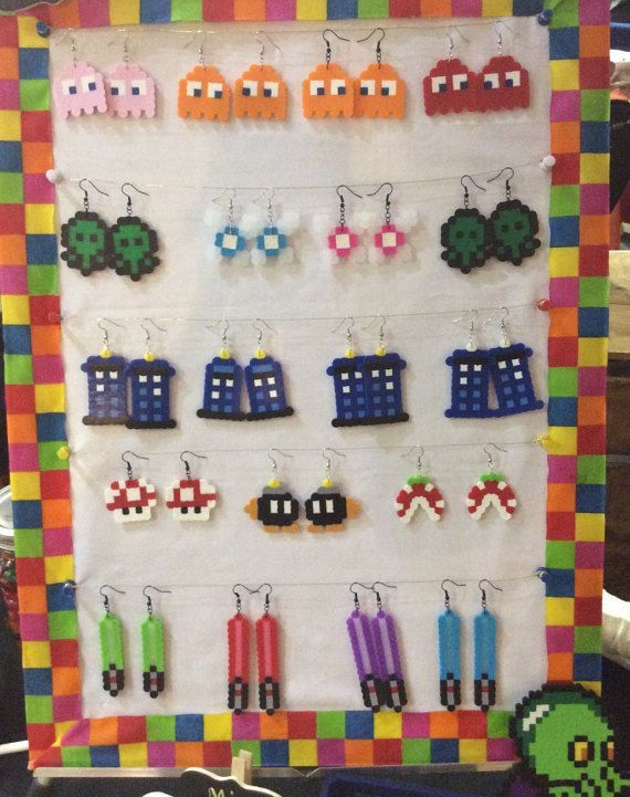 Perler Bead Earrings by PixelBitsCreations on Etsy