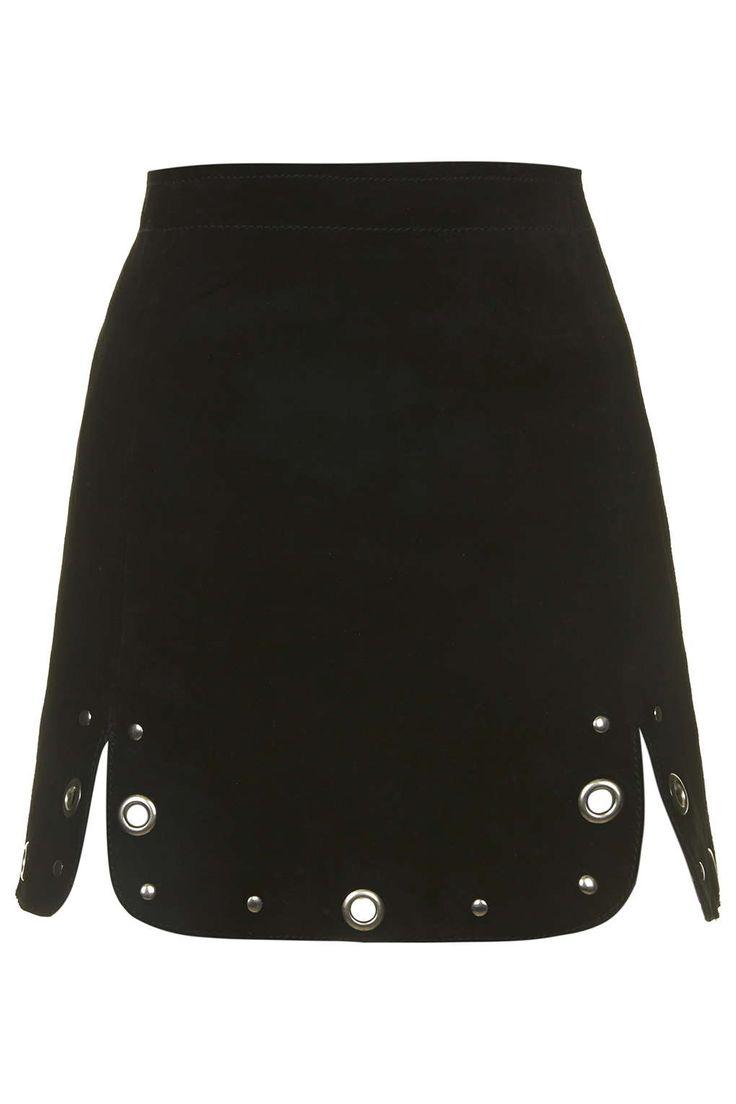 Suede Eyelet Hem Skirt - New In- Topshop