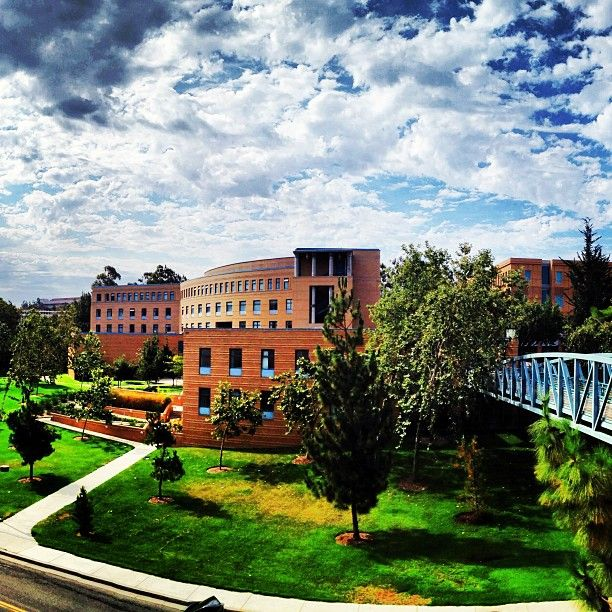 Summer sky over Humanities Instructional Building at UC Irvine.
