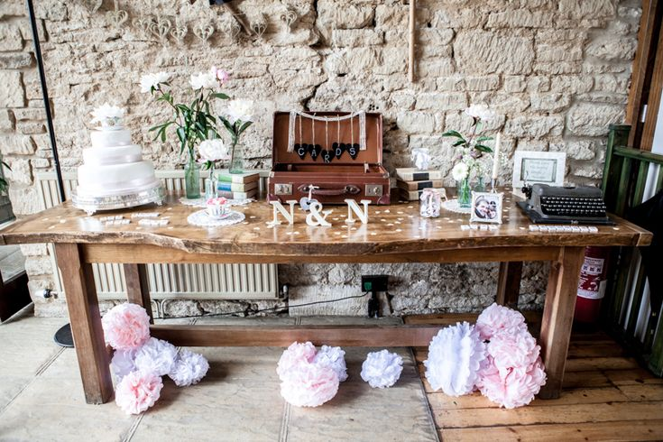 Image by Richard Jones - A Pretty Barn Wedding In The Cotswolds At The Great Tythe Barn With Bride In Pronovias And Groom In Reiss With Decor From The Vintage Hire