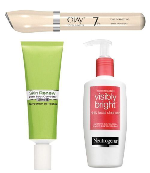 Swipe on these age fighters and erase those spots. 1) Olay Total Effects Tone Correcting Spot Treatment, $21.50; at drugstores At night, spot-treat dark areas with this gel. It contains brightening niacinamide (a form of vitamin B3) to reduce the appearance of age spots. 2) Garnier Skin Renew Clinical Dark Spot Corrector, $16.99; at drugstores This daily moisturizer helps match tones and brightens with vitamin C. 3) Neutrogena Visibly Bright Daily Facial Cleanser, $7.99; #facialcleansernight