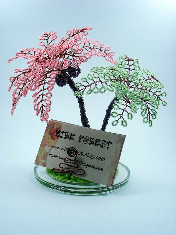 Coconut Beaded Tree - Desktop Business Card Holer -  Made To Order, $59.00