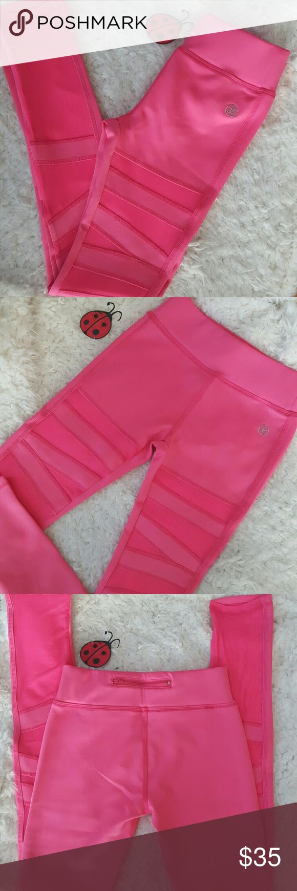 Nrw pink mesh ballerina style yoga leggings Awesome NEW pink mesh ballerina style workout leggings in a size small, small back zip pocket.  Perfect for the gym, yoga, running , weight lifting.  Leggings are stretchy but run two sizes smaller. Pants Leggings